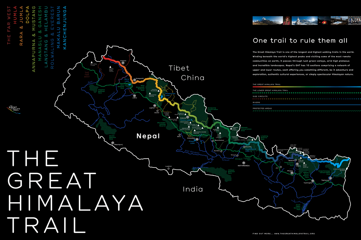 Great Himalaya Trail Stylised Map Poster Sakin Shrestha