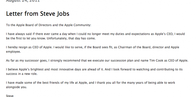 Letter from Steve Jobs to the Apple Board of Directors
