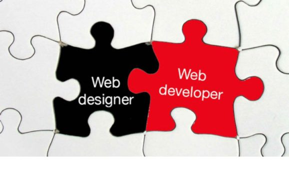Two puzzle pieces, representing Wed designer and web developer each, joined together
