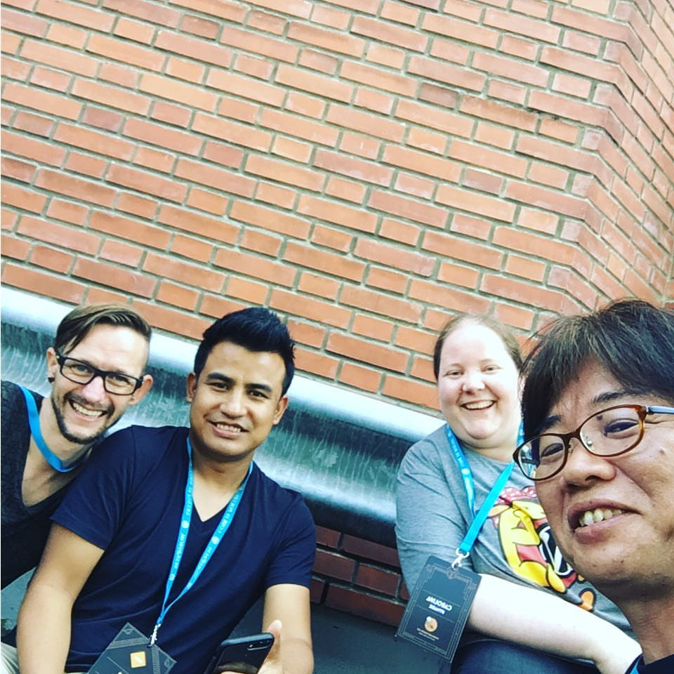 With Caroline, Ashley and Takayukii